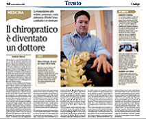 Articolo riconoscimento Chiropratica